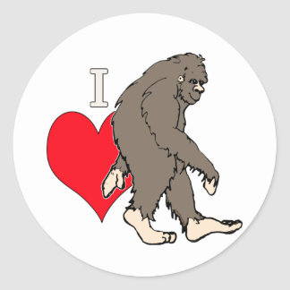 Sticker Rond j'aime Bigfoot, 2