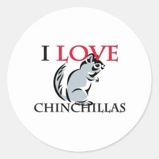 Sticker Rond J'aime des chinchillas