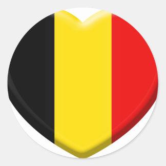 Sticker Rond j'aime la Belgique