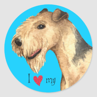 Sticker Rond J'aime la ma région des lacs Terrier