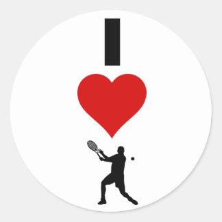 Sticker Rond J'aime la verticale de tennis (le mâle)