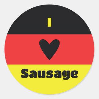 Sticker Rond J'aime l'autocollant allemand de saucisse
