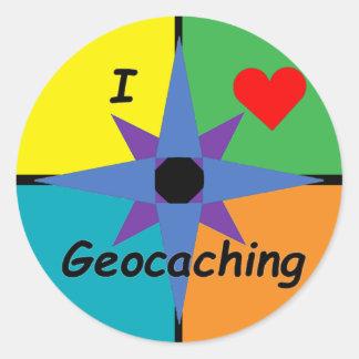 Sticker Rond J'aime l'autocollant de Geocaching (grand)