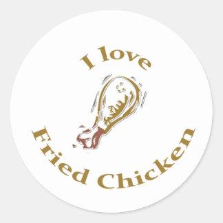 Sticker Rond J'aime l'autocollant de poulet frit