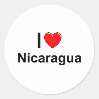 Sticker Rond J'aime le coeur Nicaragua