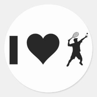 Sticker Rond J'aime le tennis (le mâle)