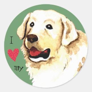Sticker Rond J'aime mon Kuvasz