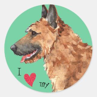 Sticker Rond J'aime mon Laekenois belge