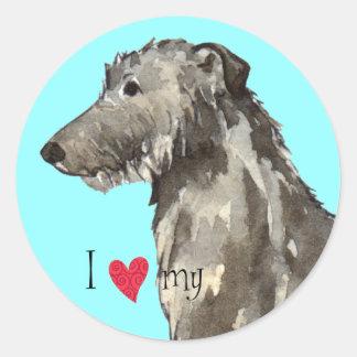 Sticker Rond J'aime mon limier écossais