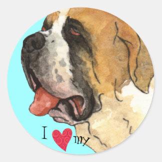 Sticker Rond J'aime mon St Bernard