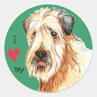 Sticker Rond J'aime mon Terrier blond comme les blés enduit