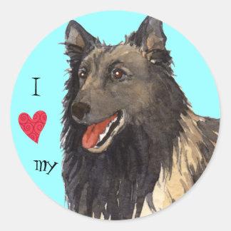 Sticker Rond J'aime mon Tervuren belge