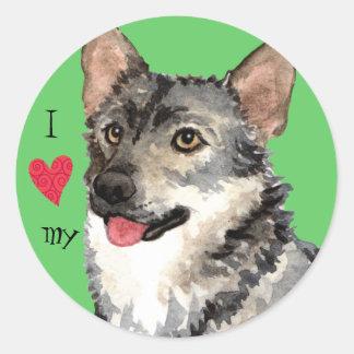 Sticker Rond J'aime mon Vallhund suédois