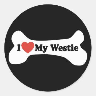 Sticker Rond J'aime mon Westie - os de chien