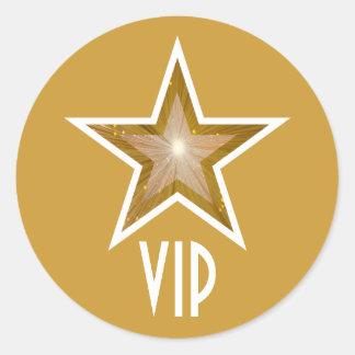 """Sticker Rond Jaune rond d'autocollant de l'étoile VIP de """"or"""""""