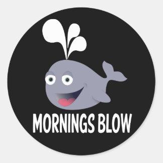 Sticker Rond Je déteste des matins - baleine d'attitude de coup