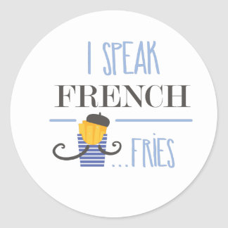 Sticker Rond Je parle français… Fritures