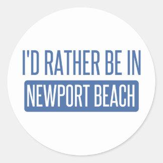 Sticker Rond Je serais plutôt en plage de Newport