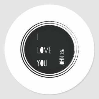 """Sticker Rond """"Je t'aime"""" vers de chrétien de 3h16 de John"""