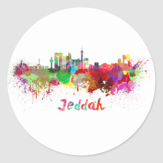 Sticker Rond Jeddah skyline in watercolor