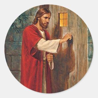 Sticker Rond Jésus frappe sur la porte