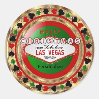 Sticker Rond Jeton de poker de Joyeux Noël de Las Vegas