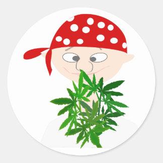Sticker Rond Jeune homme avec le bouquet de mauvaise herbe