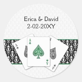 Sticker Rond Joint d'enveloppe de mariage de Vegas
