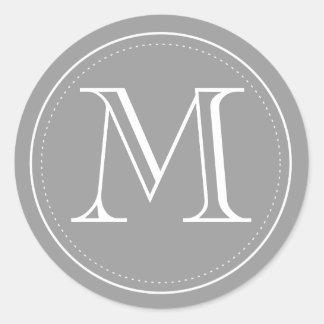Sticker Rond Joint d'enveloppe de monogramme de charbon de bois