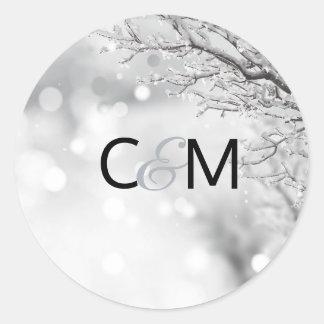 Sticker Rond JOINT d'initiales de mariage de neige du pays des