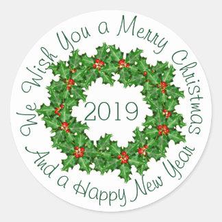 Sticker Rond Joint incurvé d'enveloppe de Noël blanc des textes