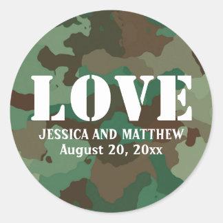 Sticker Rond Joint vert de faveur de mariage d'amour