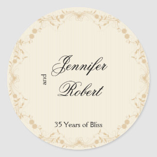 Sticker Rond Joint vintage d'enveloppe florale de filet d'or