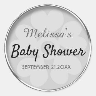 Sticker Rond Joints argentés chics de faveur de baby shower