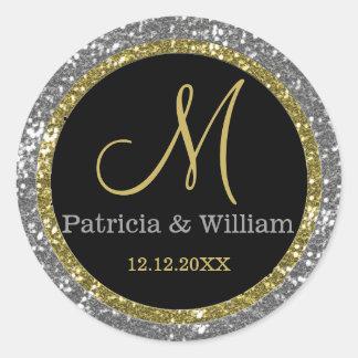 Sticker Rond Joints de monogramme de mariage d'or de