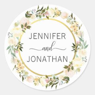 Sticker Rond Joints floraux de mariage d'or blanc de guirlande