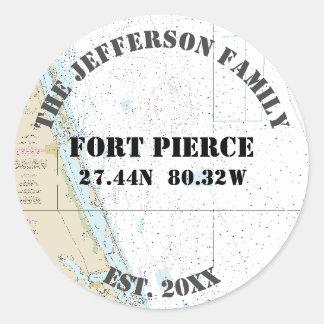 Sticker Rond Joints nautiques d'enveloppe de Fort Pierce la