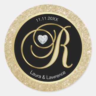 Sticker Rond Joints noirs d'enveloppe de mariage de monogramme
