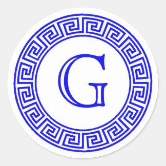 Sticker Rond Joints principaux grecs blancs d'enveloppe de