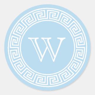 Sticker Rond Joints principaux grecs bleu-clair d'enveloppe de
