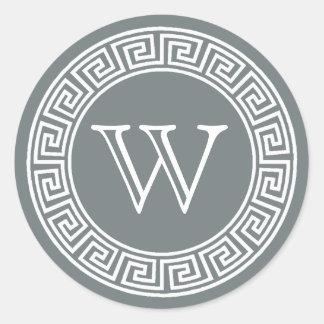 Sticker Rond Joints principaux grecs d'enveloppe de monogramme