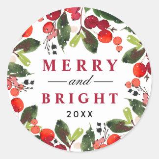 Sticker Rond Joyeuse et lumineuse guirlande de Noël d'aquarelle