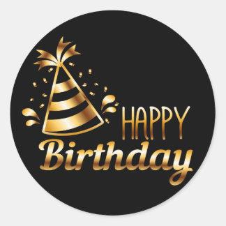 Sticker Rond Joyeux anniversaire - noir et or 3 S