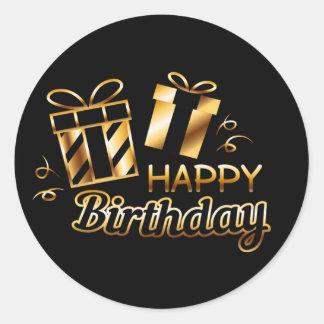 Sticker Rond Joyeux anniversaire - noir et or 4 S