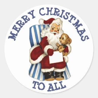Sticker Rond Joyeux Noël à tout l'autocollant d'ours de