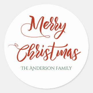 Sticker Rond Joyeux Noël avec le nom de famille