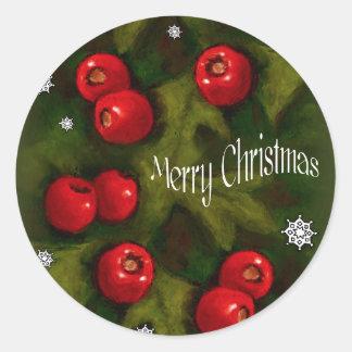 Sticker Rond Joyeux Noël, baies de Hawhtorn, art original