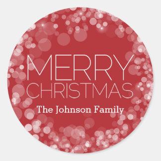 Sticker Rond Joyeux Noël moderne Bokeh rouge personnalisé