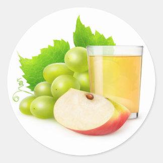 Sticker Rond Jus de raisin et de pomme