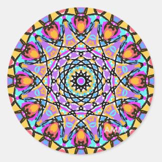 Sticker Rond Kaléidoscope de fleur d'amusement